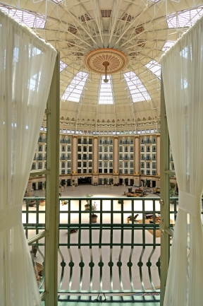 Guest room balcony looking into the West Baden Springs Hotel Atrium.
